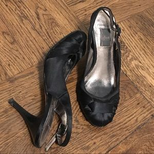 Black Satin Party Heels Women's Size 4